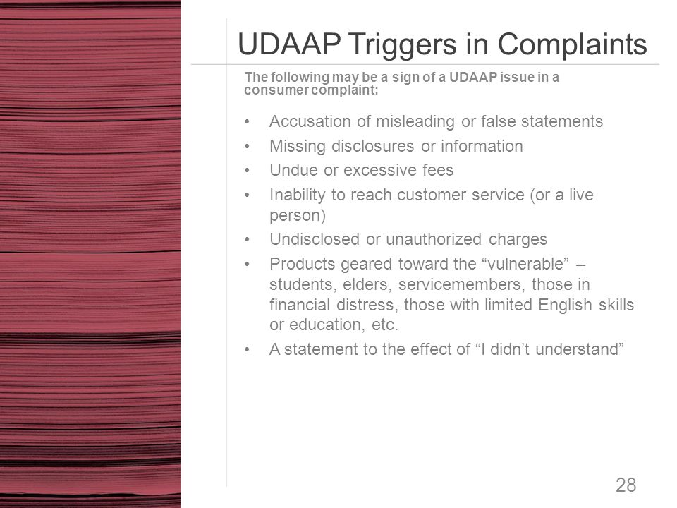 UDAAP Triggers in Complaints