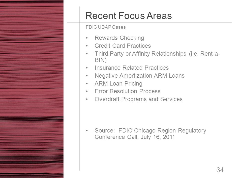 Recent Focus Areas Rewards Checking Credit Card Practices
