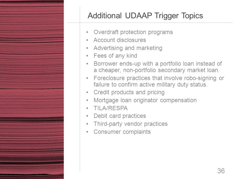 Additional UDAAP Trigger Topics