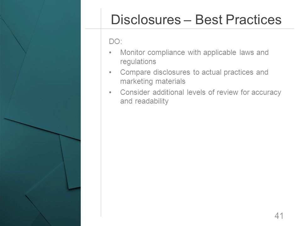 Disclosures – Best Practices
