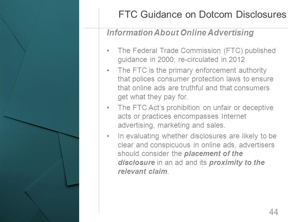 FTC Guidance on Dotcom Disclosures