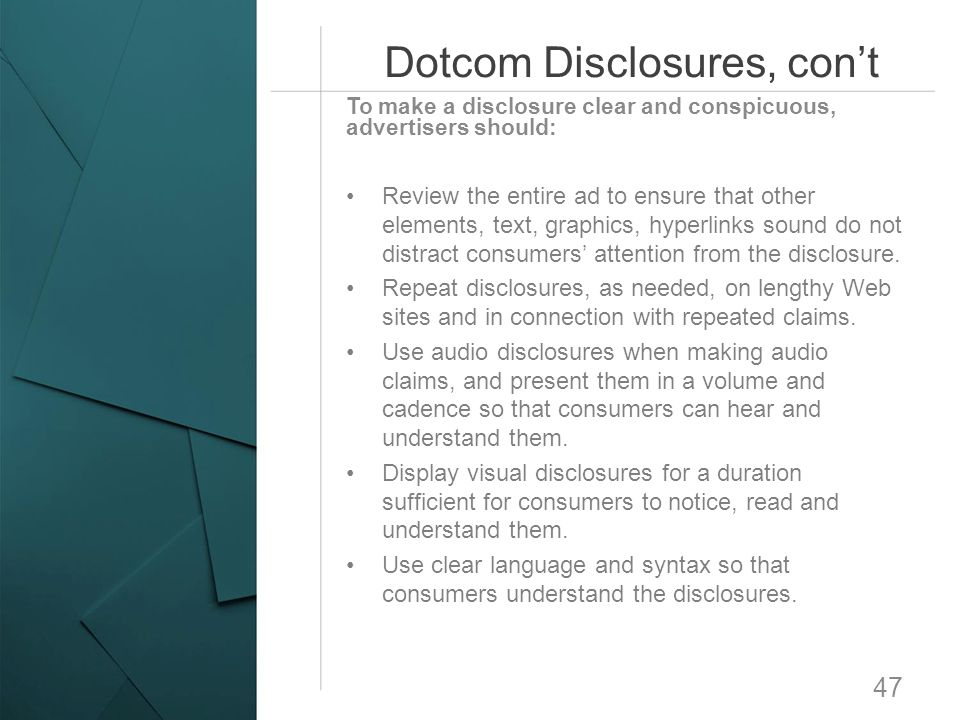 Dotcom Disclosures, con't