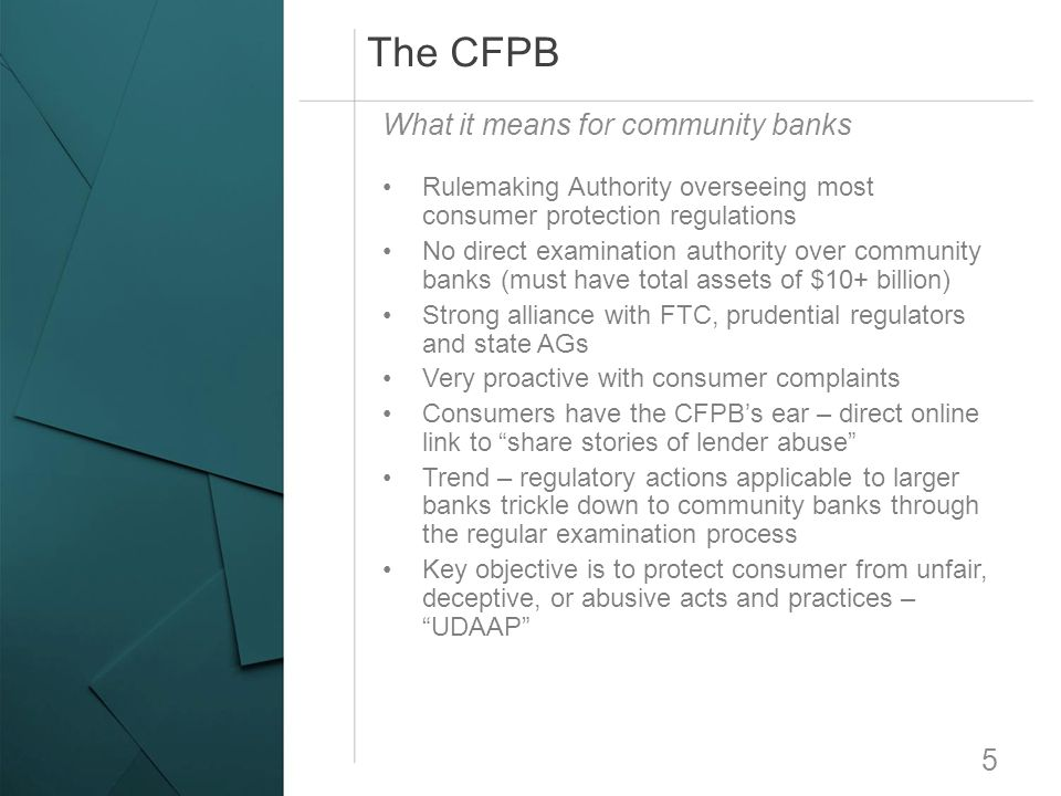 The CFPB What it means for community banks