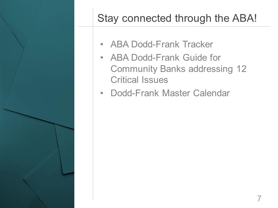 Stay connected through the ABA!