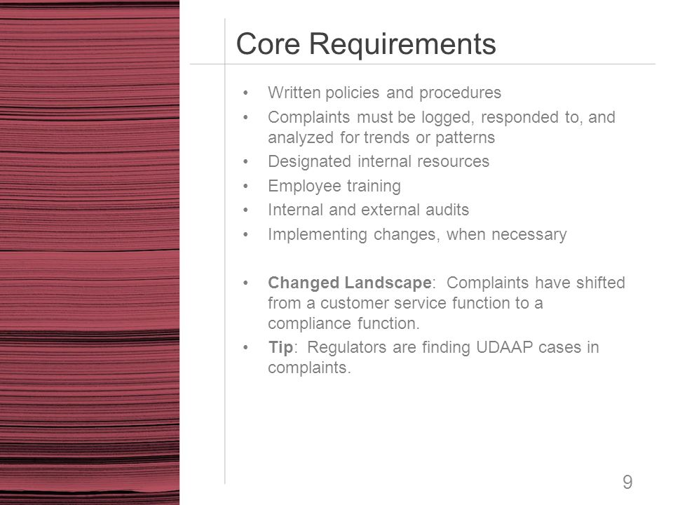 Core Requirements Written policies and procedures