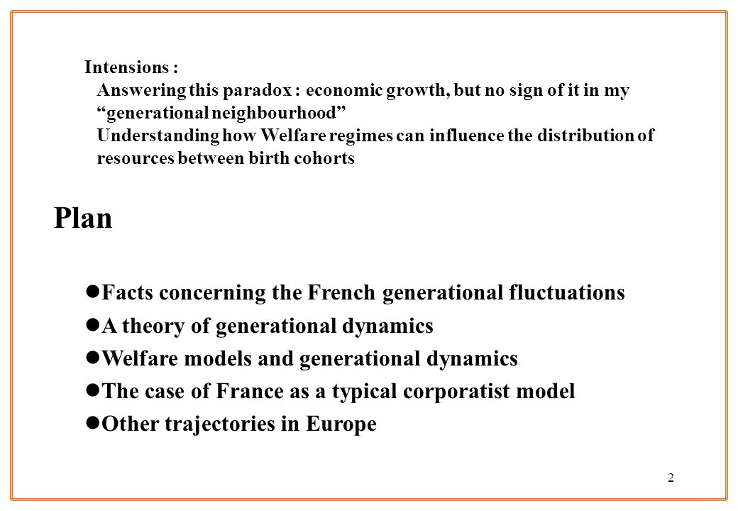 Plan Facts concerning the French generational fluctuations