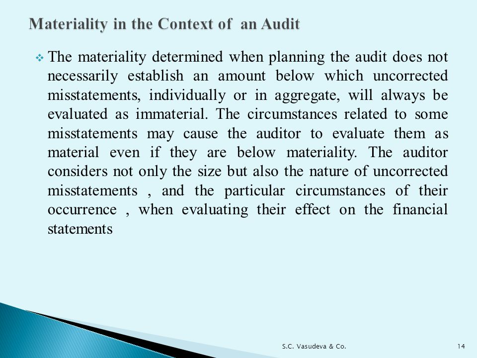 Materiality in the Context of an Audit