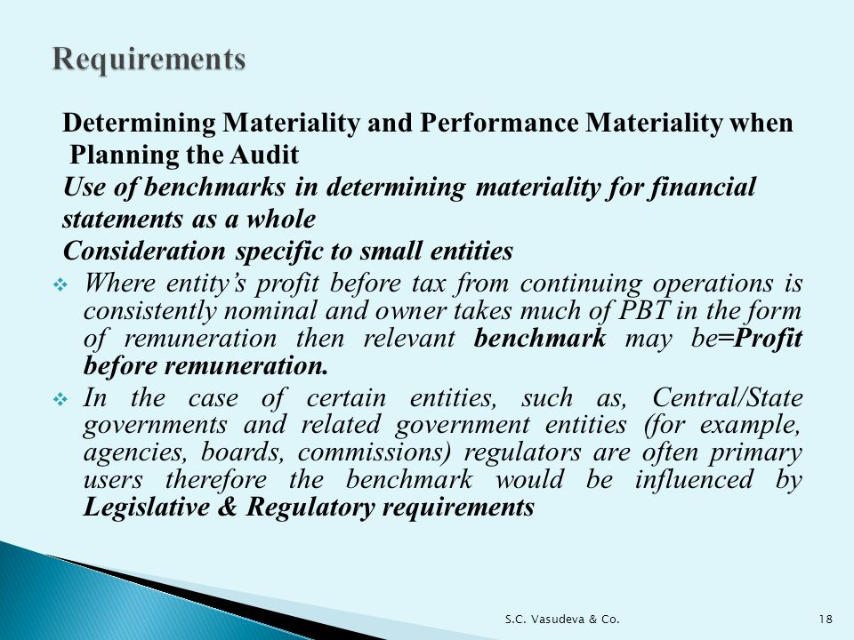 Requirements Determining Materiality and Performance Materiality when