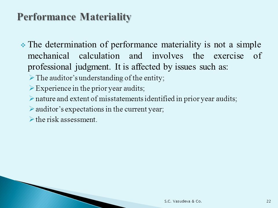 Performance Materiality