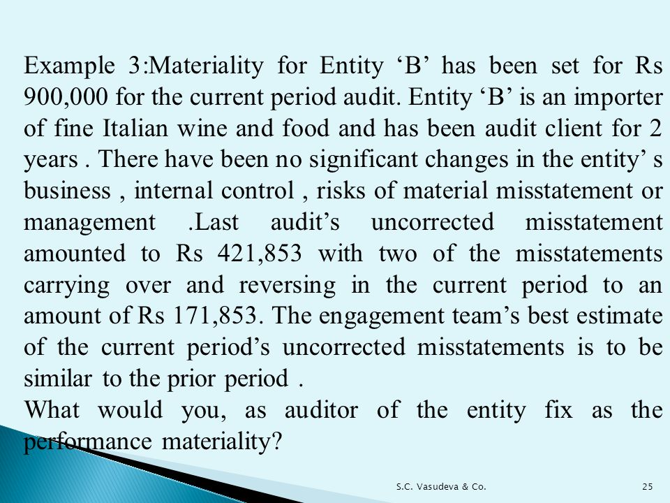 Example 3:Materiality for Entity 'B' has been set for Rs 900,000 for the current period audit. Entity 'B' is an importer of fine Italian wine and food and has been audit client for 2 years . There have been no significant changes in the entity' s business , internal control , risks of material misstatement or management .Last audit's uncorrected misstatement amounted to Rs 421,853 with two of the misstatements carrying over and reversing in the current period to an amount of Rs 171,853. The engagement team's best estimate of the current period's uncorrected misstatements is to be similar to the prior period .
