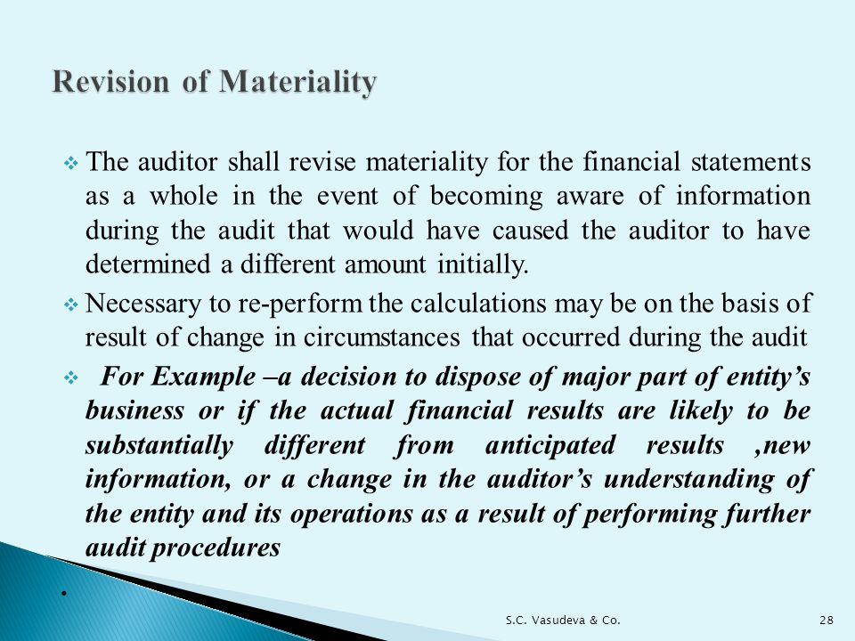 Revision of Materiality