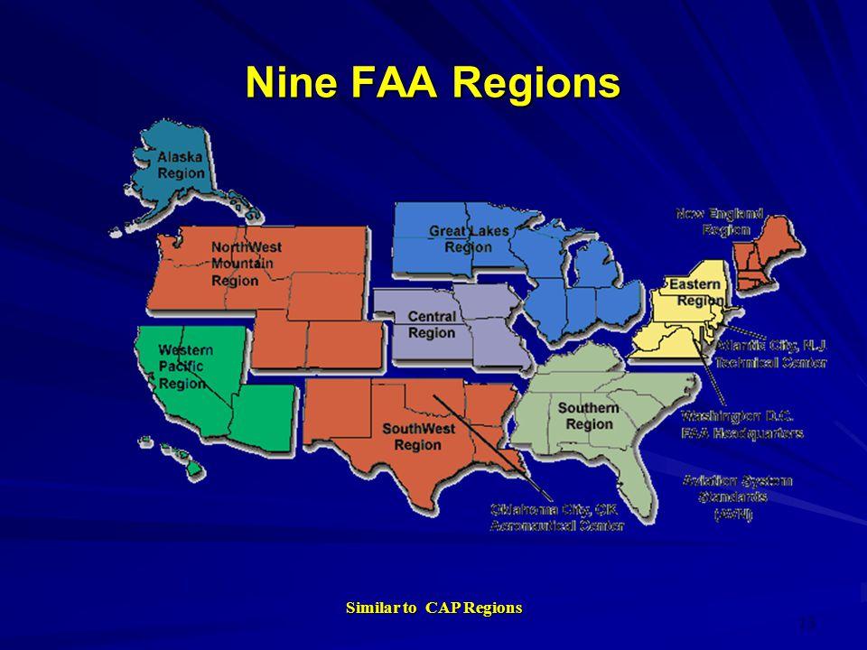 Nine FAA Regions Similar to CAP Regions