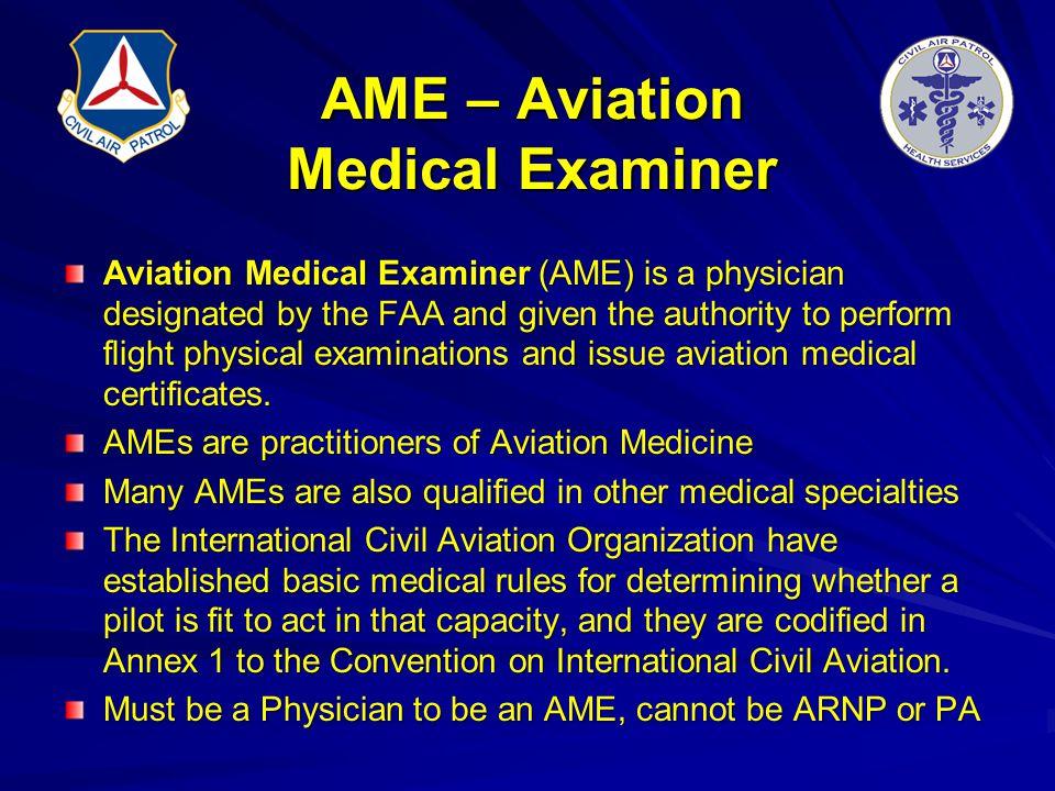 AME – Aviation Medical Examiner