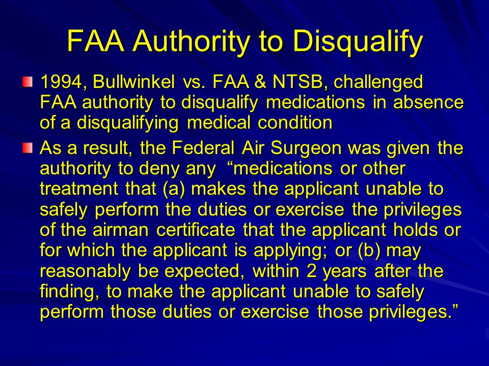FAA Authority to Disqualify