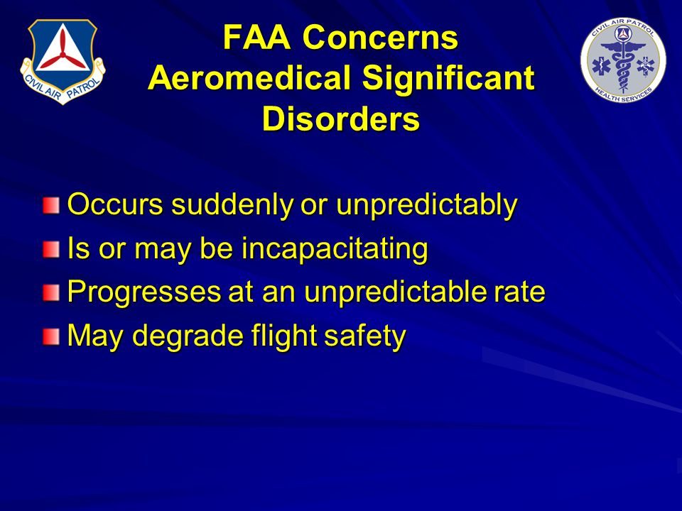 FAA Concerns Aeromedical Significant Disorders