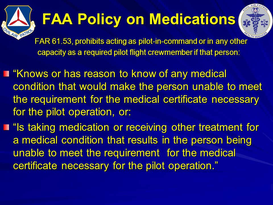 FAA Policy on Medications FAR 61