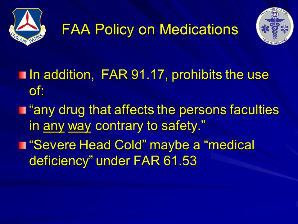 FAA Policy on Medications
