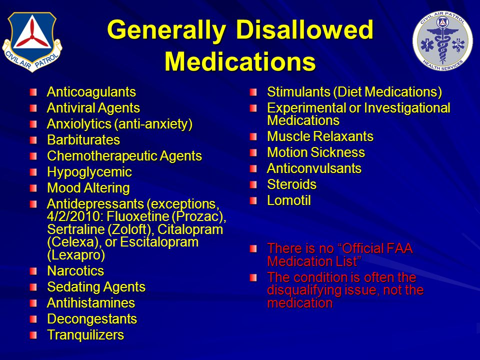 Generally Disallowed Medications