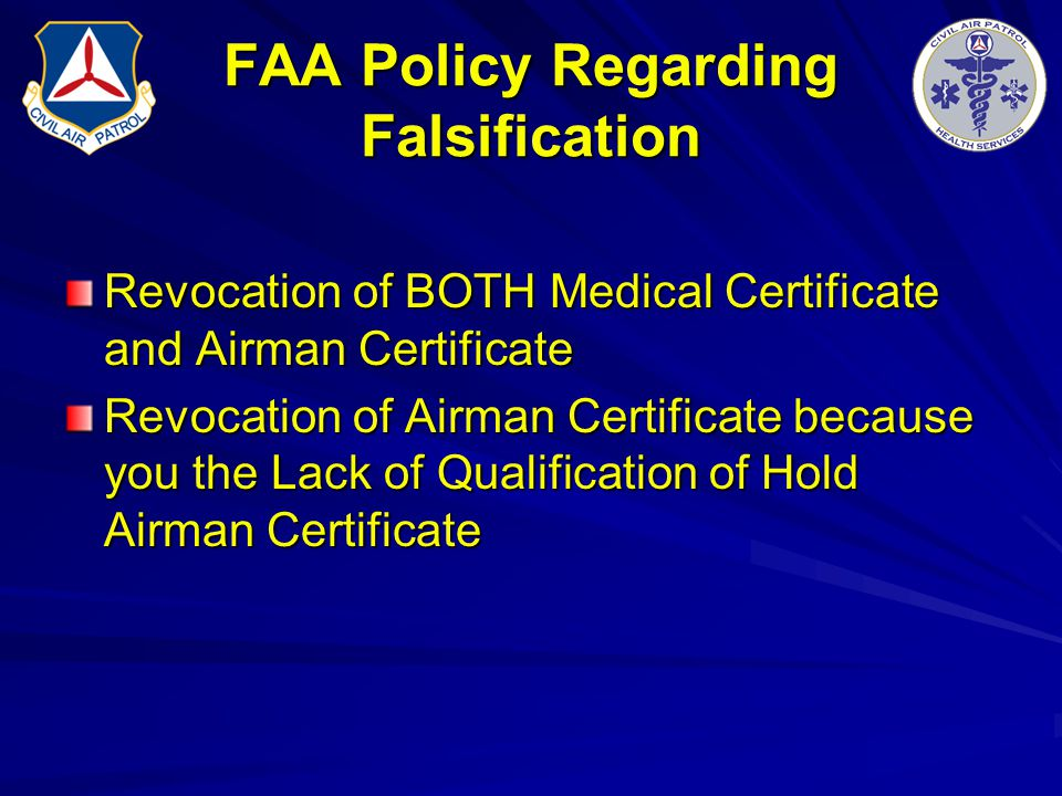 FAA Policy Regarding Falsification