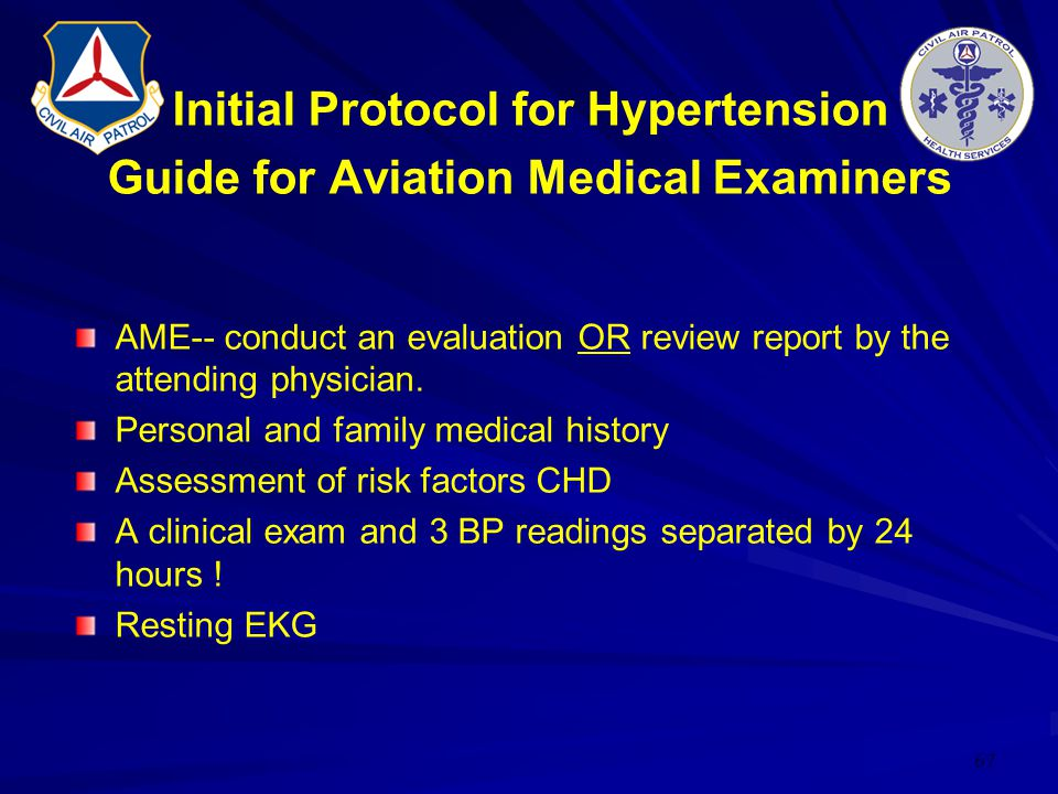 Initial Protocol for Hypertension Guide for Aviation Medical Examiners