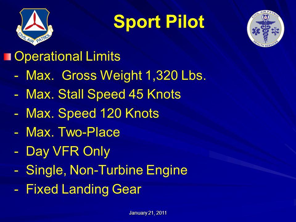 Sport Pilot Operational Limits - Max. Gross Weight 1,320 Lbs.