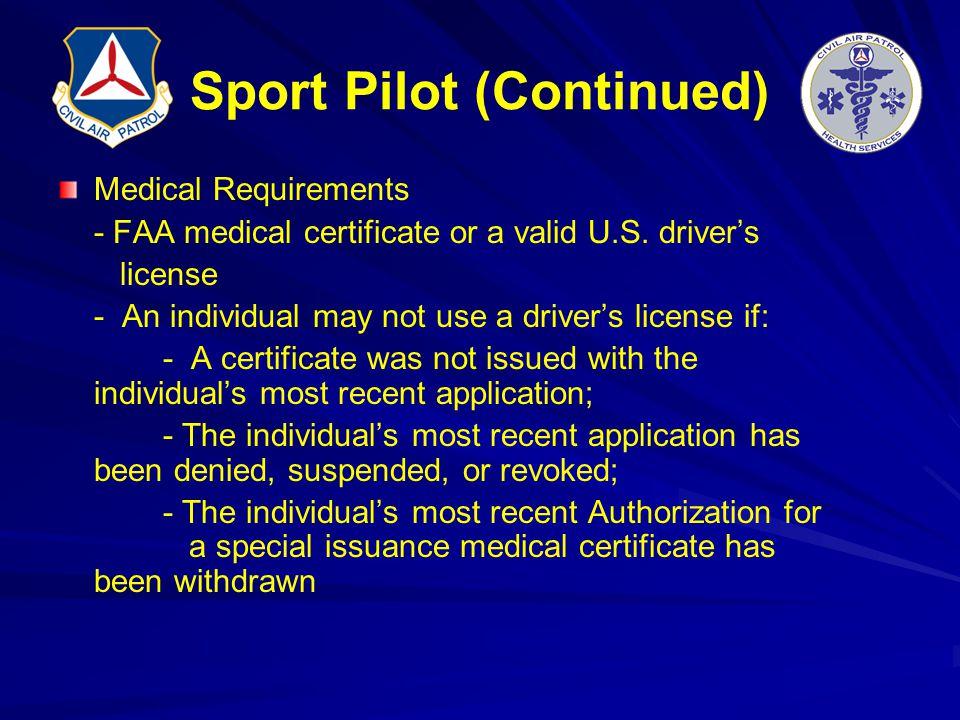 Sport Pilot (Continued)