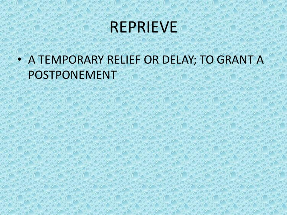 REPRIEVE A TEMPORARY RELIEF OR DELAY; TO GRANT A POSTPONEMENT