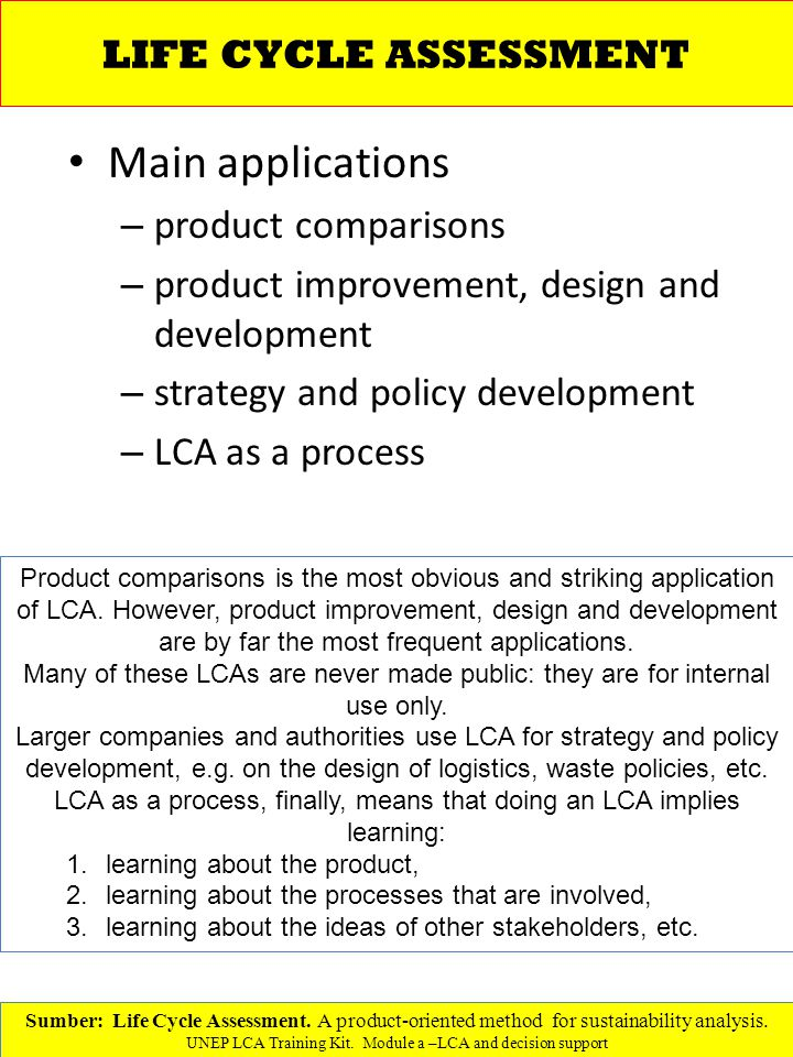 Main applications LIFE CYCLE ASSESSMENT product comparisons