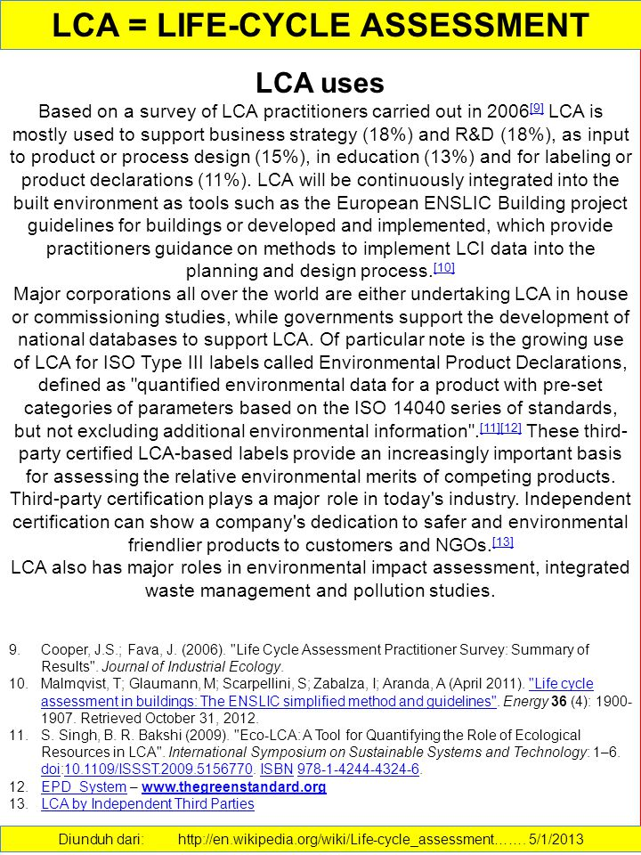 LCA = LIFE-CYCLE ASSESSMENT