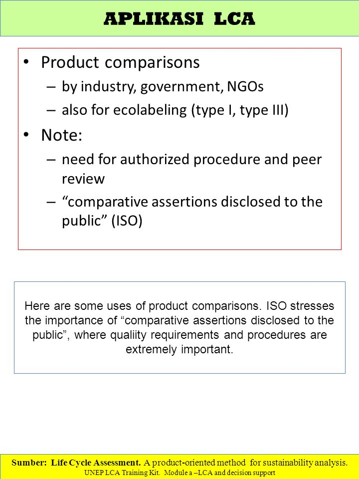 APLIKASI LCA Product comparisons Note: by industry, government, NGOs