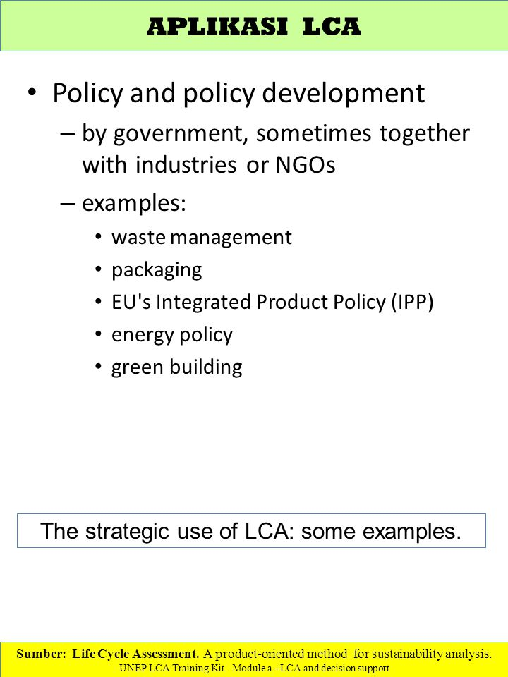 The strategic use of LCA: some examples.