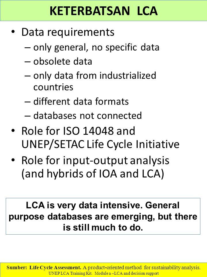 KETERBATSAN LCA Data requirements