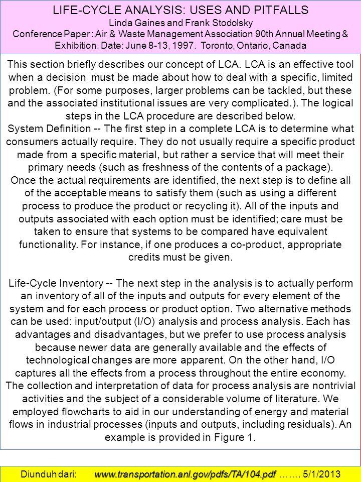 LCA CONCEPTS LIFE-CYCLE ANALYSIS: USES AND PITFALLS