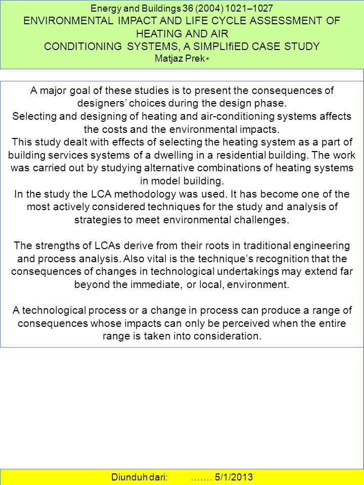 ENVIRONMENTAL IMPACT AND LIFE CYCLE ASSESSMENT OF HEATING AND AIR