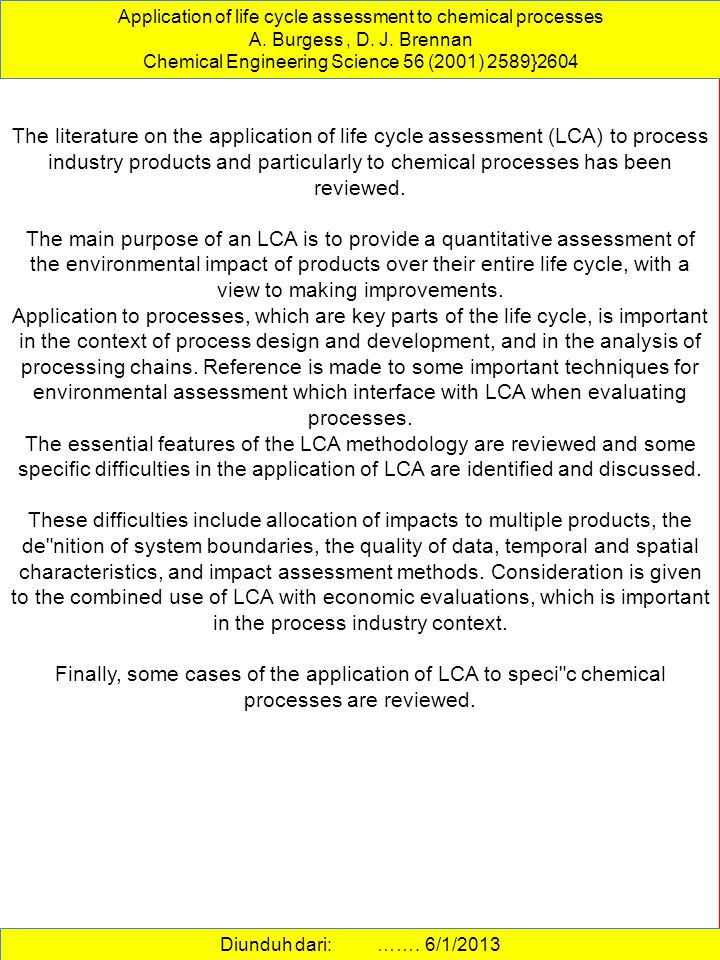 Application of life cycle assessment to chemical processes