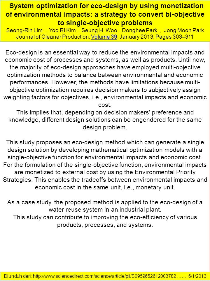 Journal of Cleaner Production. Volume 39, January 2013, Pages 303–311