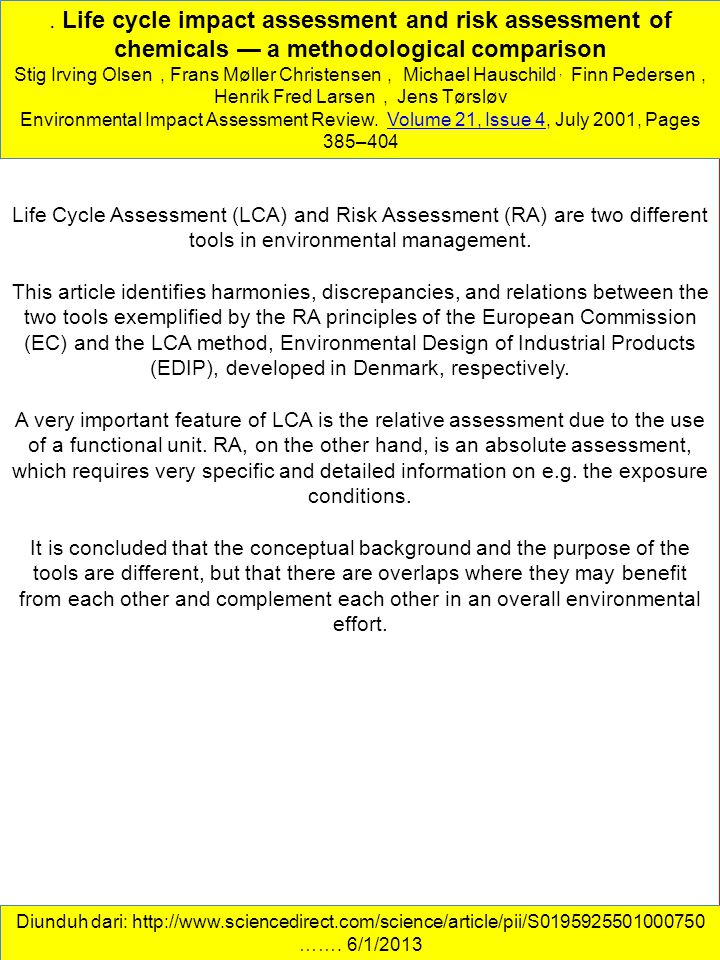 . Life cycle impact assessment and risk assessment of chemicals — a methodological comparison