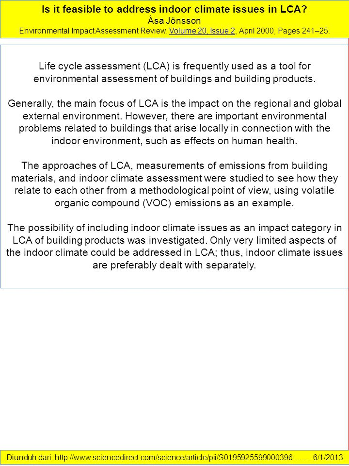 Is it feasible to address indoor climate issues in LCA