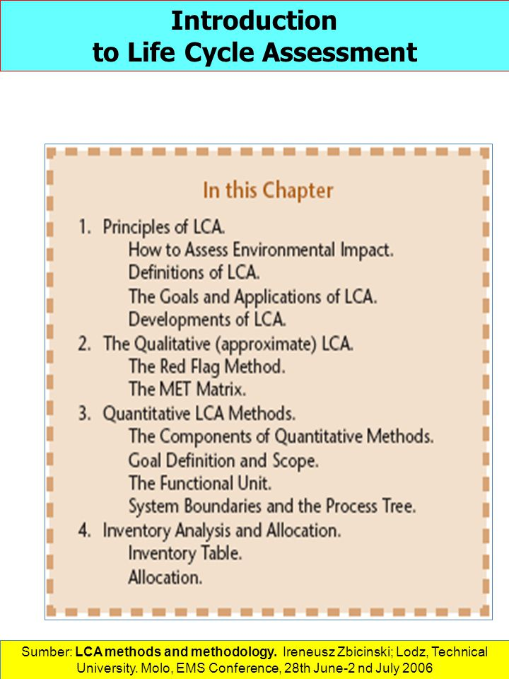 Introduction to Life Cycle Assessment