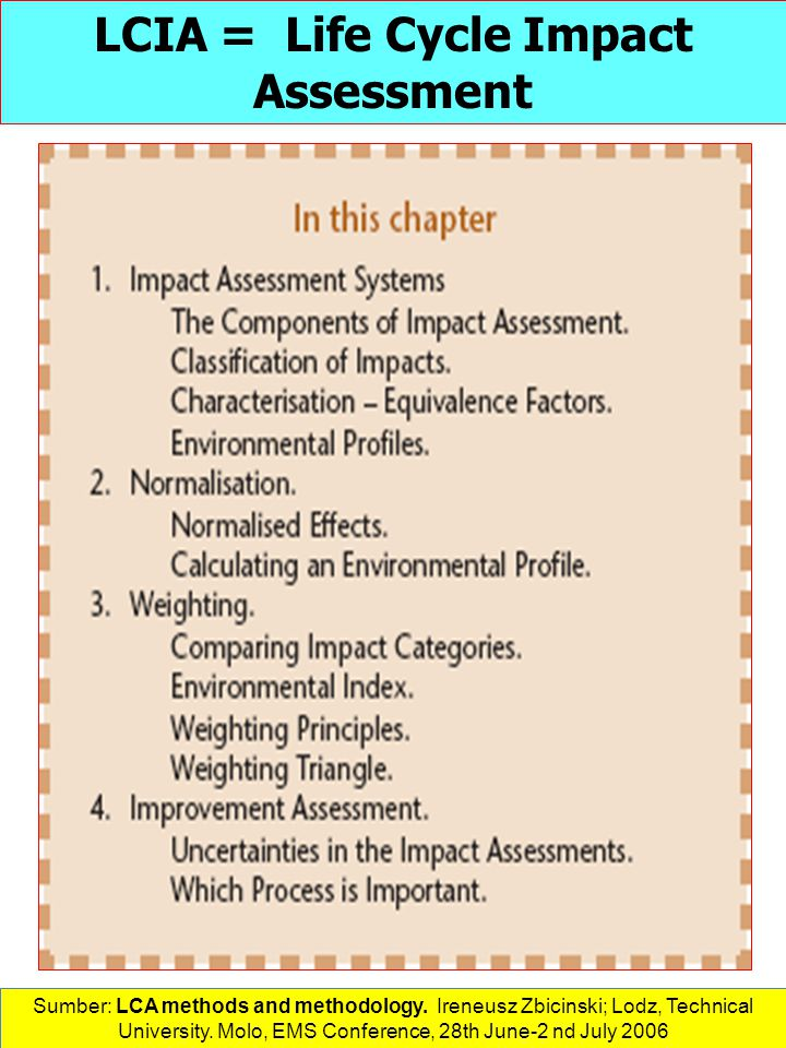 LCIA = Life Cycle Impact