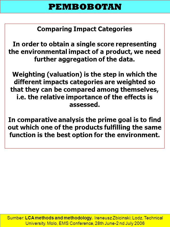 Comparing Impact Categories