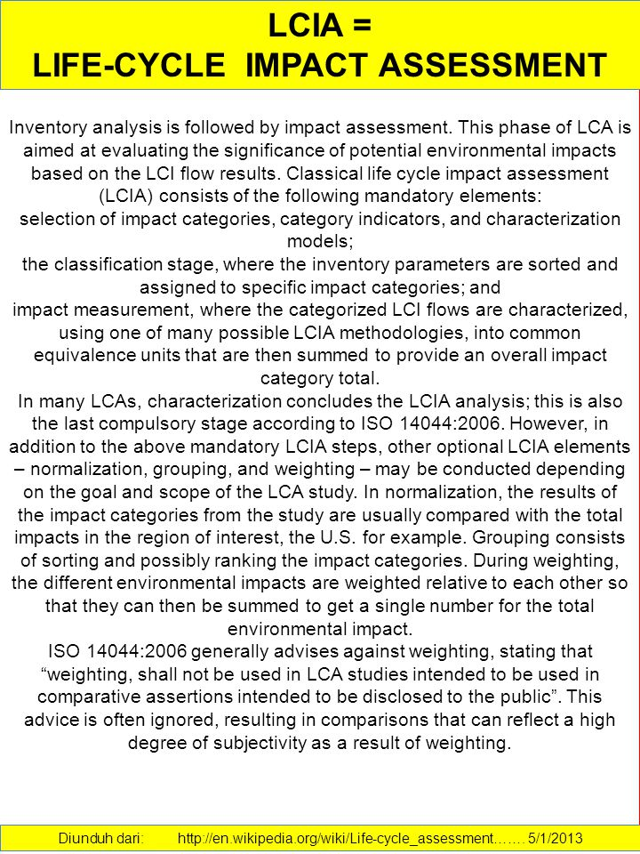 LIFE-CYCLE IMPACT ASSESSMENT