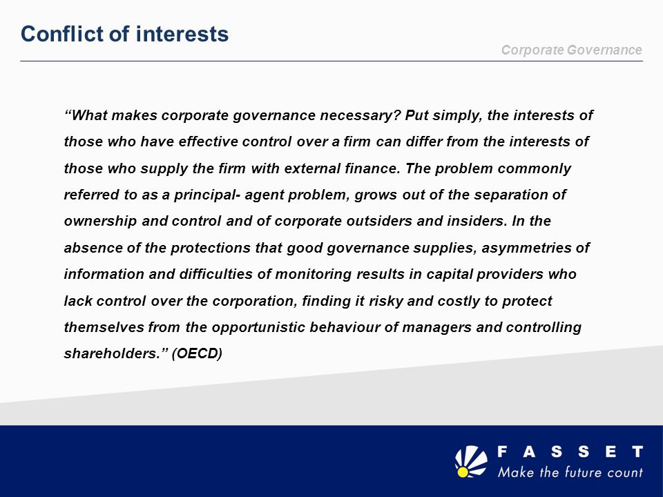 Conflict of interests Corporate Governance.