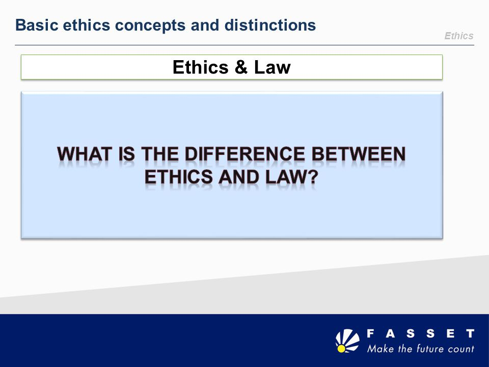 What is the difference between ethics and law