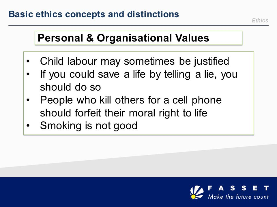 Personal & Organisational Values