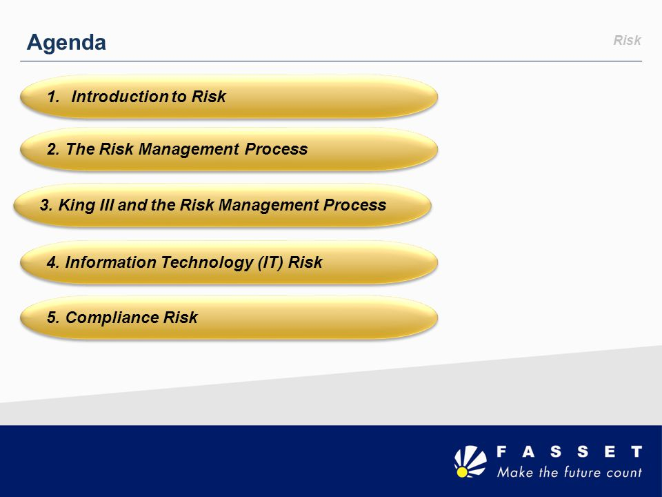 Agenda Introduction to Risk 2. The Risk Management Process