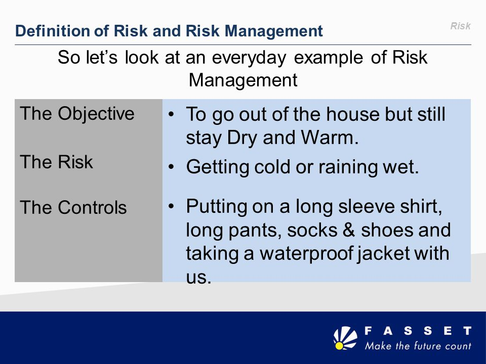 So let's look at an everyday example of Risk Management