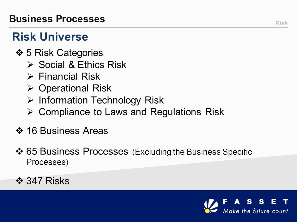 Risk Universe Business Processes 5 Risk Categories