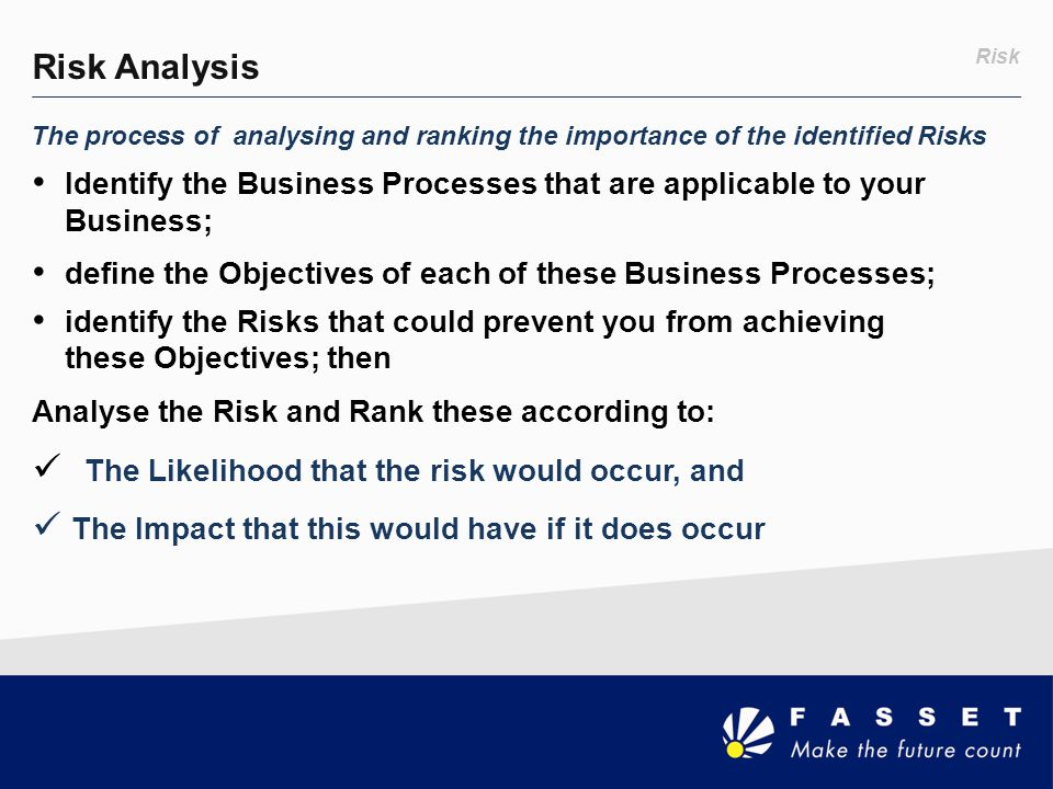 Risk Analysis Risk. The process of analysing and ranking the importance of the identified Risks.