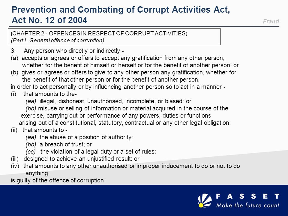 Prevention and Combating of Corrupt Activities Act, Act No. 12 of 2004